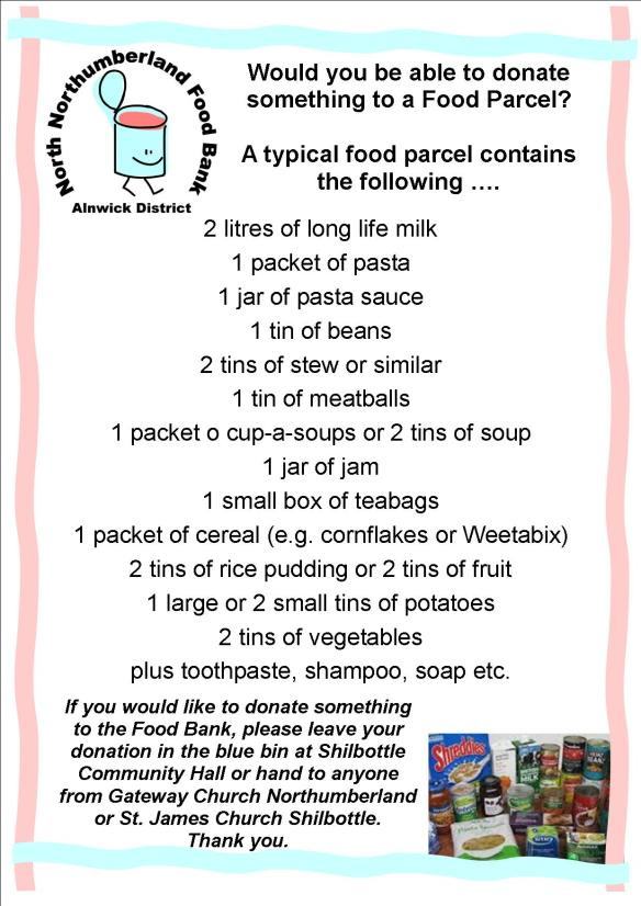 Food Bank Leaflet ~ what goes in ~ 1-8-14